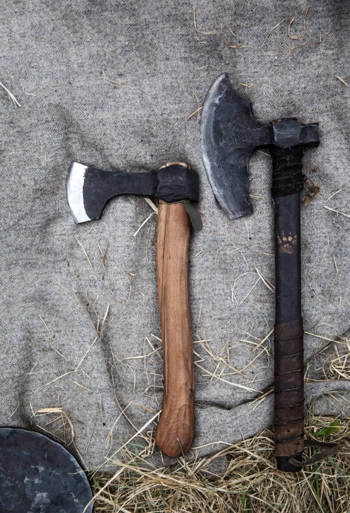 Small Viking axe and bearded axe