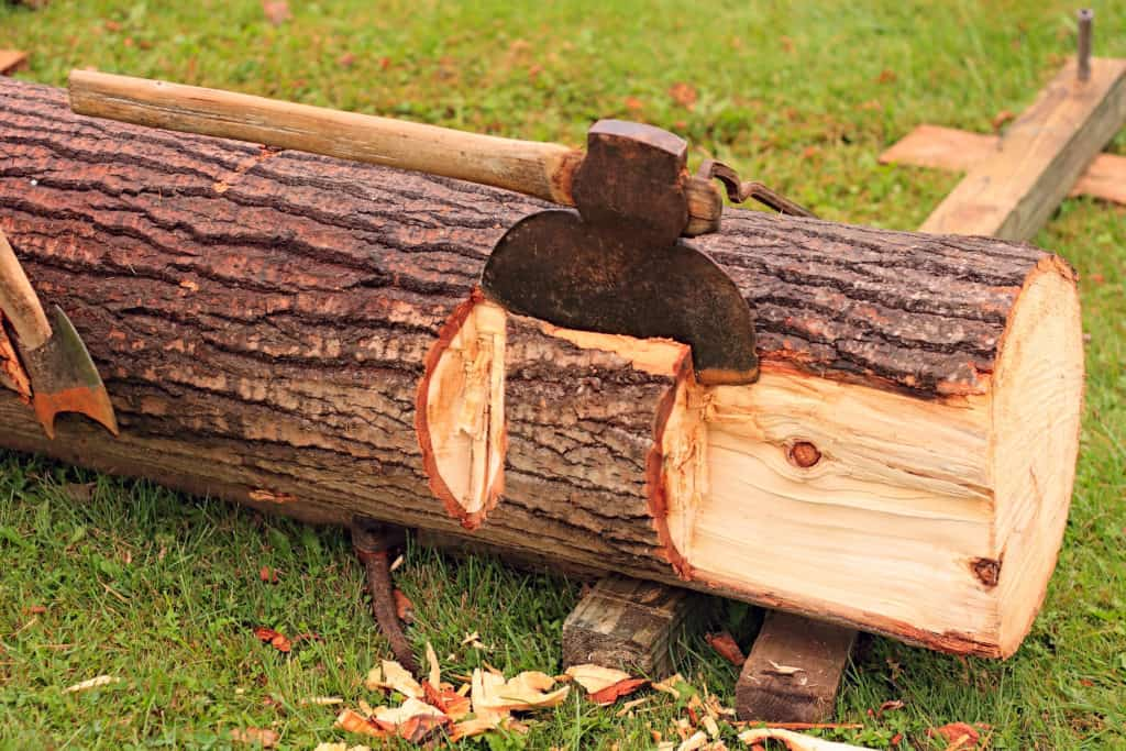 Broad axe hewing a log